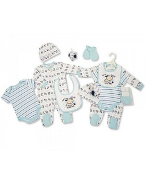 Nursery Time Brand Baby Boys 6 pcs Gift Set - Little Pup (Sleep suit, Short Sleeved Body vest, Bib, Hat, Mittens, Toy)