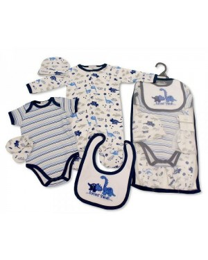 Baby Boys 5 Pieces Gift Set - Forever Friends (Sleepsuit, Short Sleeved Body vest, Bib, Hat, Mittens)
