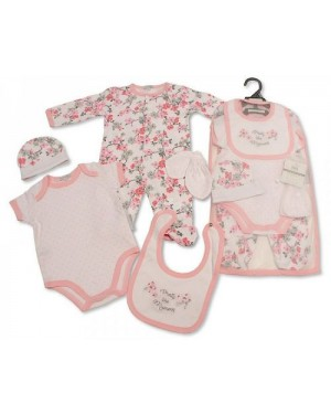 Baby Girls 5 Pieces Gift Set - Pretty Like Mummy (Sleepsuit, Short Sleeved Bodyvest, Bib, Hat, Mittens)