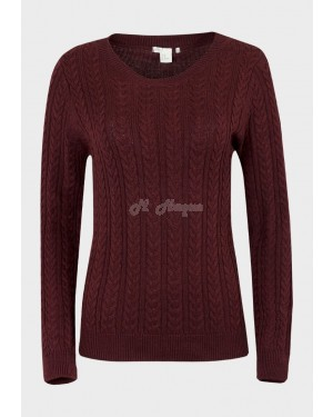 Ex Chainstore Ladies Cable Knit Cotton-Rich Jumper / sweater (Maroon)