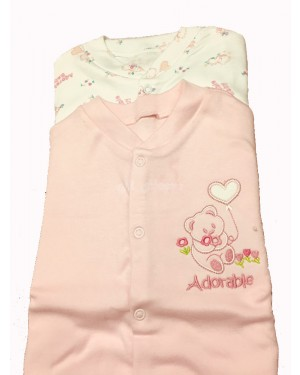 Nursery Time brand baby girls 2 in a pack cotton sleep suits