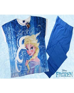 Ex Chainstore Ladies Official Disney Frozen Short Sleeve Top & Cuffed Lounge Pant Pyjama Set - B30-UK10-12