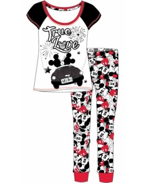 "Ladies Official Disney ""Minnie Mouse"" Short Sleeve Top & Cuffed Lounge Pant Pyjama Set-UK12-14"