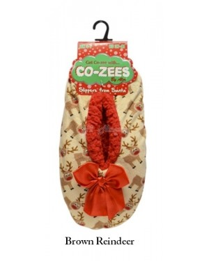 Ladies Luxury Christmas Design Sherpa Fleece Lined Gripper Sole Slipper by Co-Zees - Brown Reindeer
