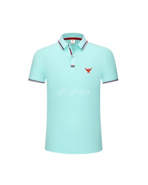 New UK's Branded MHaque Men's short sleeve polo shirt-Light blue-Large