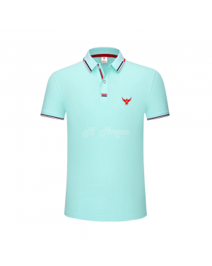 New UK's Branded MHaque Men's short sleeve polo shirt-Light blue-Medium