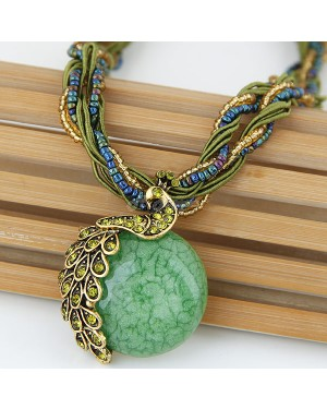 Alloy Resin Beads green Necklace - Brand new