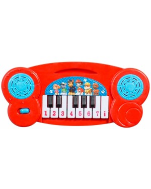"PWP-3074 Official PAW Patrol ""Chase, Marshall & Rubble"" Mini Electronic Keyboard Piano musical toy - Red B24"