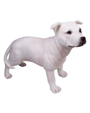 Staffordshire Bull Terrier Dog - White figurine