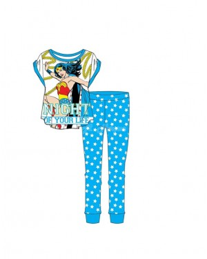 "Ladies Official DC Comics ""Wonder Woman"" Short  Sleeve Top & Cuffed Lounge Pant Pyjama Set B1 B9 - Brand new & Authentic-UK12-14"