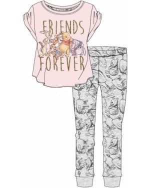 """Ladies Official Disney """"Winnie the Pooh & Friends"""" Short Sleeve Top & Cuffed Lounge Pant Pyjama Set - Brand new & Authentic"""