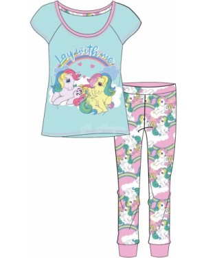 "Ladies Official ""My Little Pony"" Short Sleeve Top & Cuffed Lounge Pant Pyjama Set - Brand new & Authentic-UK12-14"